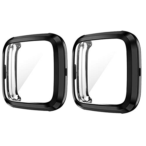 Cuteey 2 Pack Screen Protector Case for Fitbit Versa 2, Soft TPU Plated Cover Scratch Proof Full Protective Bumper Shell for Fitbit Versa 2 Smartwatch Accessories (Black+Black)