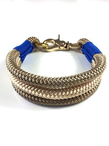 Hundehalsband, Hundeleine oder Set aus Tau, Tauhalsband, für kleine und große Hunde, beige blau gold tan