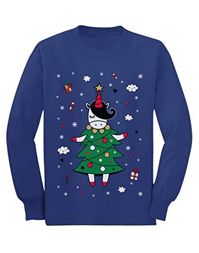 Camiseta de Manga Larga para niños - - Unicorn Xmas Tree - Jersey Féo de Navidad para Niñas 7/8 Años 128cm Azul