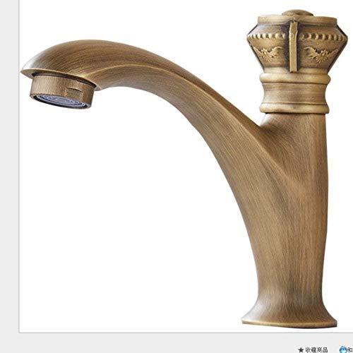 G1 / 2 patrón de grabado europeo Retro único grifo frío lavabo de baño grifo para sentarse con manguera de agua lavadero abrevadero Bibcock