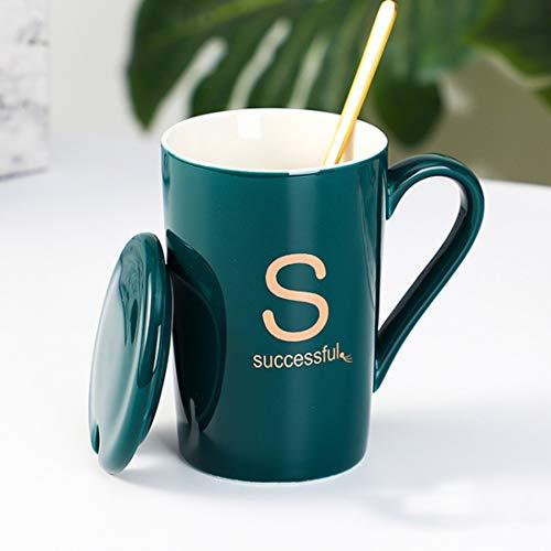 Taza con inicial de porcelana fina para el hogar, la oficina y...