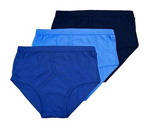 Textiles Universels Offre spéciale: sous-vêtement/Slips à Braguette 'Y' en 100% Coton pour Homme (Lot de 6) (Taille: 102-107cm (X-Large)) (Bleu/Bleu M