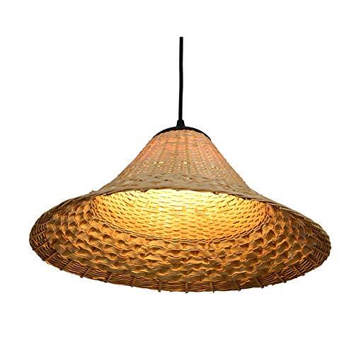 LYHY Lámpara de araña de bambú con celosía Moderna, lámpara Colgante de Mimbre Natural, Pantalla de ratán Hecha a Mano, para Sala de Estar, Bar, cafetería, Restaurante, 45 cm