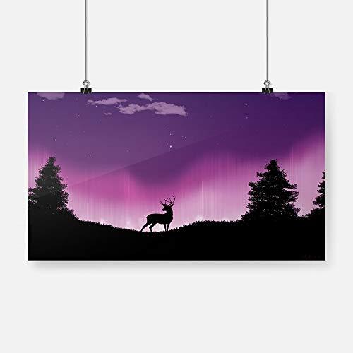 Cartel Minimalista con Vista Nocturna de Ciervos, Pintura en Lienzo, decoración Mural, Sala de Estar, Dormitorio, Estudio, decoración del hogar, impresión Sin marco36x20cm