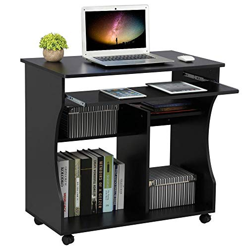Yaheetech Movable Computer Office Desk PC Laptop Table Home Office Furniture with Sliding Keyboard 2 Shelves Study Workstation on Wheels Black 80.1x48.1x76.2cm