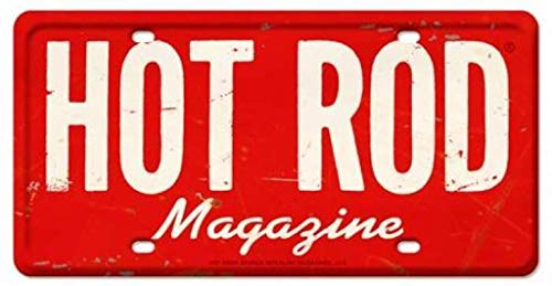 Losea HOT Rod Magazine License Plate Metal Tin Sign Wall Art Decor for Living Room Vintage Art Coffee Bar Signs Home Decor Gifts Decoration 12 x 6 Inches