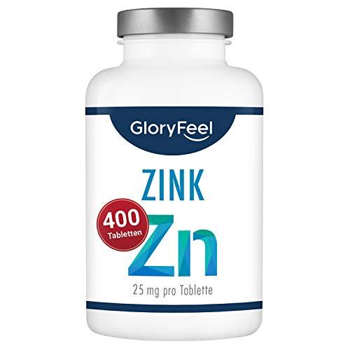 Zink 25mg Hochdosiert - 400 vegane Tabletten (13 Monate) - Premium Zink-Gluconat hoch bioverfügbar - 25mg Elementares Zink pro Tablette - Laborgeprüfte Herstellung in Deutschland