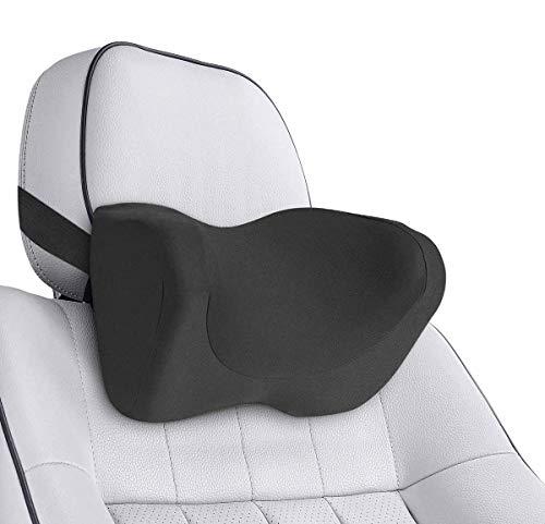 LTPAG kopfstütze Auto, Auto Nackenkissen Adjustable Elastic Band, Ergonomische Memory Schaum Nackenstütze für Erwachsene und Kinder, Schwarz