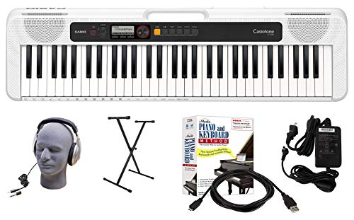 Casio CT-S200WE 61-Key Premium Keyboard Package with Headphones, Stand, Power Supply, 6-Foot USB Cable and eMedia Instructional Software, White (CAS CTS200WE EPA)