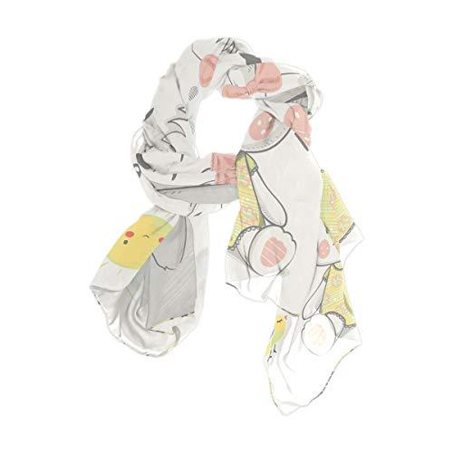 Rootti - Bufanda para mujer, diseño de conejo, de gasa, elegante, suave, de poliéster transparente, de gran tamaño, para niñas y mujeres