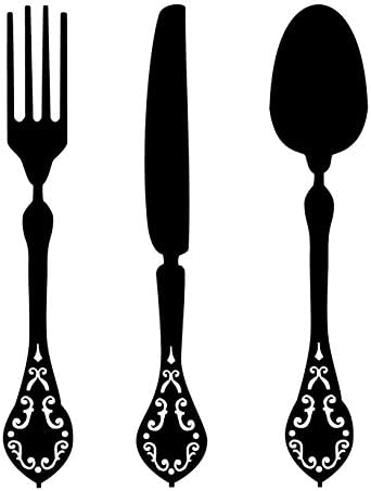 CustomVinylDecor Silverware Utensils Vinyl Wall Decal Knife Fork and Spoon Silhouette Vinyl product image