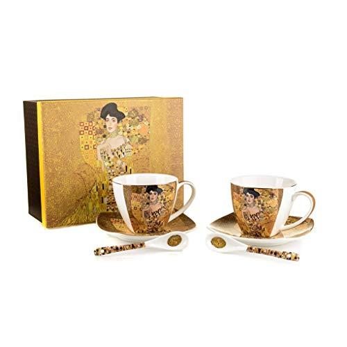 Gustav Klimt Kunst Adele Bloch-Bauer Porzellanset mit 2 Kaffeetassen, 2 Löffeln, 2 Untertassen | Künstlerische Teetassen mit Untertassen Set für Haus und Büro