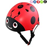 Lanova Boys Girls Ladybug Cycling Multi-Sport Safety Bike Skating Scooter Helmet (Red, S)