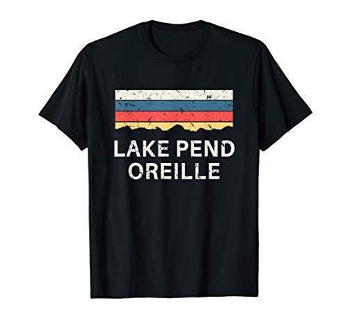 Lake Pend Oreille Souvenir Fishing Retro Map Gifts Idaho T-Shirt