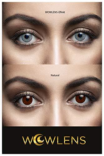 WOWLENS Sehr stark deckende und natürliche blaue Kontaktlinsen farbig MAURITIUS BLUE + Behälter I 1 Paar (2 Stück) I DIA 14.00 I 0.00 Dioptrien I ohne Stärke