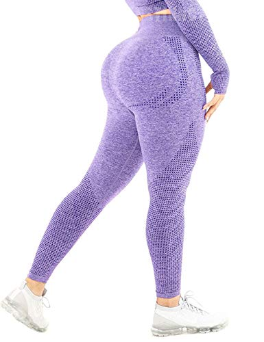 CFR Women Yoga Pants Seamless High Waist Butt Push up Tummy Control Gym Sport Workout Leggings #1 Dots Lavender,L