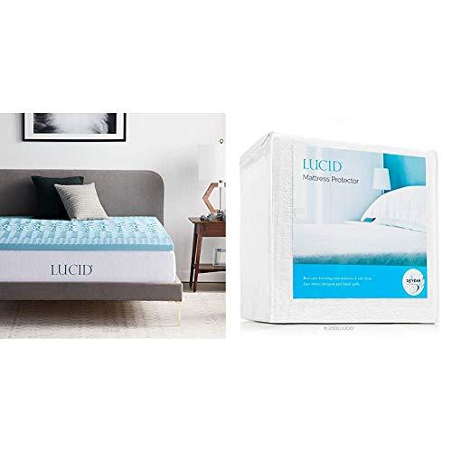 LUCID 2 Inch Zoned Gel Memory Foam Mattress Topper, Queen & Premium Hypoallergenic 100% Waterproof Mattress Protector - Universal Fit, Cotton Terry Top, Queen