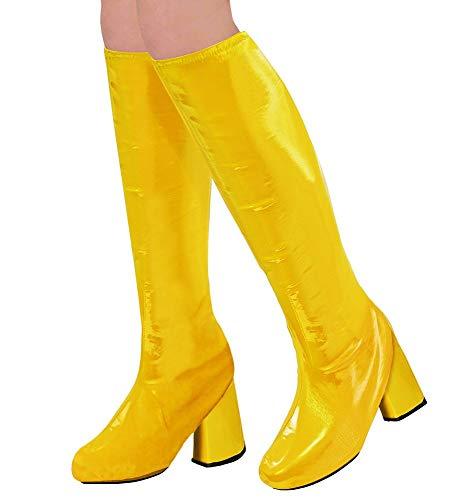 shoperama 60er 70er Lack Damen Stiefel Überzieher Stulpen glänzend Disco Festival Show Revue Kostüm-Zubehör, Farbe:Gelb