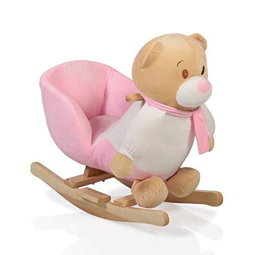 Plüsch Schaukeltier Bär rosa WJ-635 mit Handgriffe aus Holz ab 12 Monate