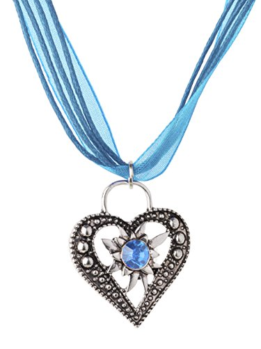 Trachtenkette Wiesnstein eleganter Herz Anhänger mit Strass - Trachtenschmuck Kette für Dirndl und Lederhose (Türkis)