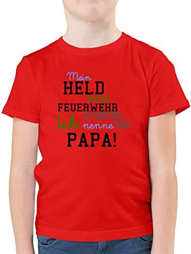 Feuerwehr Kind - Mein Held Papa Feuerwehr Junge - 152 (12/13 Jahre) - Rot - Feuerwehr t Shirt - F130K - Kinder Tshirts und T-Shirt für Jungen