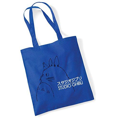 Studio Ghibli Totoro Logo Inspired Blue Tote Bag