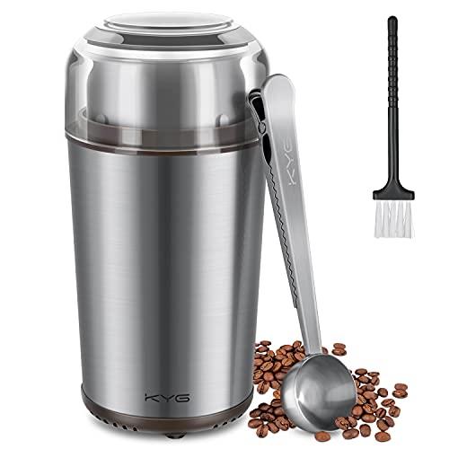 KYG Molinillo de Café Eléctrico Desmontable de 300W Potencia Molinos de Acero Inoxidable con Capacidad 70 gr Muele Rápido Semillas Nueces Especias