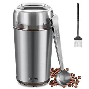 KYG Molinillo de Café Eléctrico Desmontable de 300W Potencia Molinos de Acero Inoxidable con Capacidad 70 gr Muele Rápido Semillas/Nueces/Especias