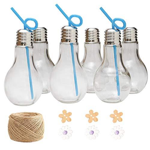 DreamJing 6 Pcs Kreative Glühbirne Kunststoff Flaschen 300ML,Bulb Wasserflasche Trinken Terrarium Glühbirnen Vase für Party Dinner Deko Supplies(mit 25m * 2mm Schnur)