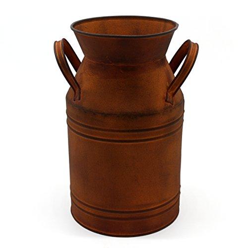 CVHOMEDECO. Lata de Leche oxidada de 25,4 cm, jarrón de Metal rústico rústico primitivo para decoración de hogar y jardín.