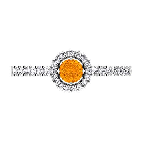 Anillo de compromiso halo con diamantes y zafiros azules, anillo solitario con piedra lateral (5 mm, zafiro azul con forma redonda), 14K White Gold, Blue Sapphire, Size:US 47
