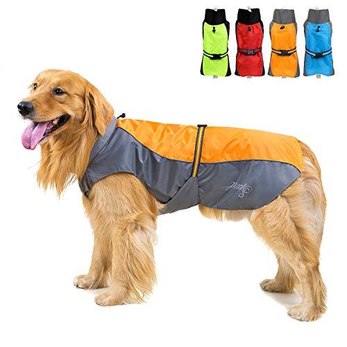 Zunea Wasserdichter Regenmantel für Mittelgroße und Große Hunde Reflektierend Regenjacke Leicht Winddicht Netzfutter Regenschutz Kleidung für Outdoor Wandern, Bekleidung für nasse Tage Orange 6XL