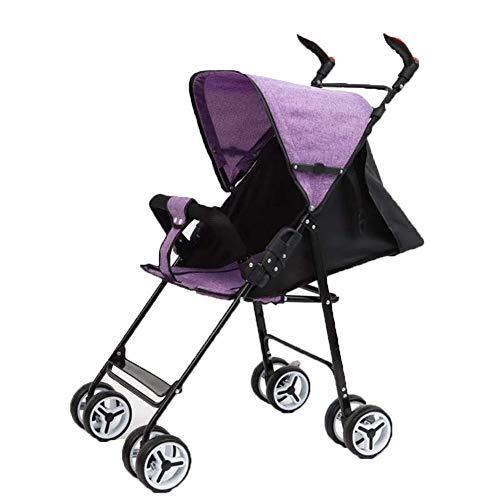 DYFAR Leichter und tragbarer Kinderwagen, zusammenklappbar für ultrakompakte Aufbewahrung UPF 50+ Ausziehbarer Fußsack mit Kapuze und Regenschutz, Purple