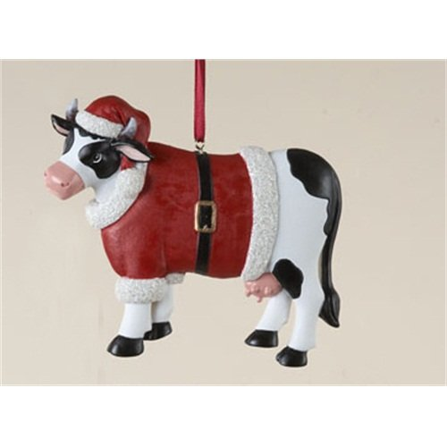 Kurt Adler Cow in Santa Suit Ornament - Gift Boxed