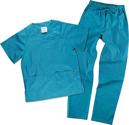 Work Team Uniforme Sanitario, con elástico y cordón en la Cintura, Casaca y Pantalon Unisex Turquesa L