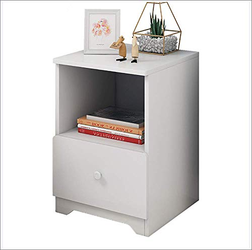 Rzj-njw Solid Wood Bedside Table/White Side Table Simple Modern Bedroom Simple Three-Tier Storage Cabinet