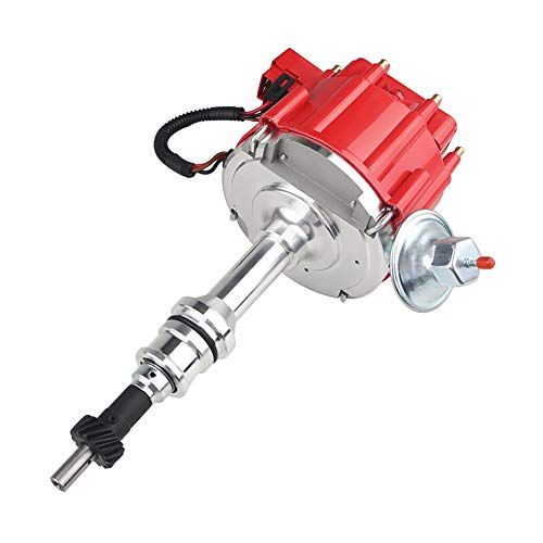 JDMON Compatible with HEI Complete Ignition Distributor Ford SBF Small Block 260 289 302 65k Coil 7500RPM Red Cap 1030213 PE330U JM6502BL JM6502R