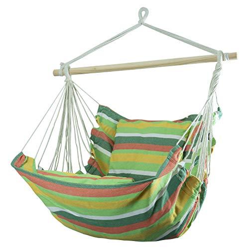 Woodside Swinging Garden Hammock Chair Outdoor Wooden Rope Swing Seat