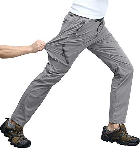 KEFITEVD Trekking Hose Herren Schnelltrocknend Lang Sommer Hose Dünn Outdoor Angeln Safari Kleidung Männer Cargohose mit Elastisch Bund Hellgrau 32