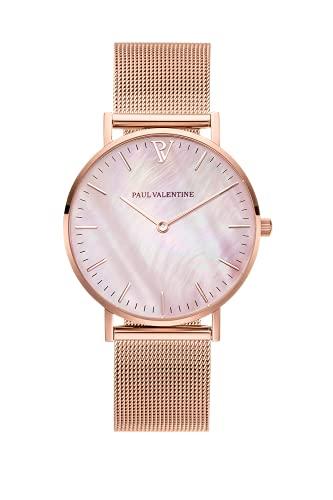 Paul Valentine Damenuhr - Rose Gold Seashell - Armbanduhr mit Perlmutt Ziffernblatt in Rosegold, kratzfestes Glas und Mesh-Armband, Uhr für Damen (36mm)