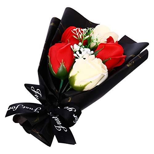 ABOOFAN Seife Rose Geschenk Bouquet Künstliche Blumen Bouquet Box Duftend Blumengeschenk für Valentinstag Jubiläum Geburtstag Neujahrsgeschenk (Schwarz)