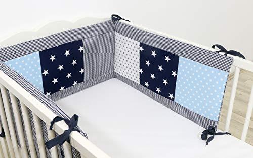 ULLENBOOM ® baby bedomrander l 210 x 30 cm l stootrand voor ledikantjes, hoofdbeschermer ledikant in de maat 140 x 70 cm I blauw lichtblauw grijs