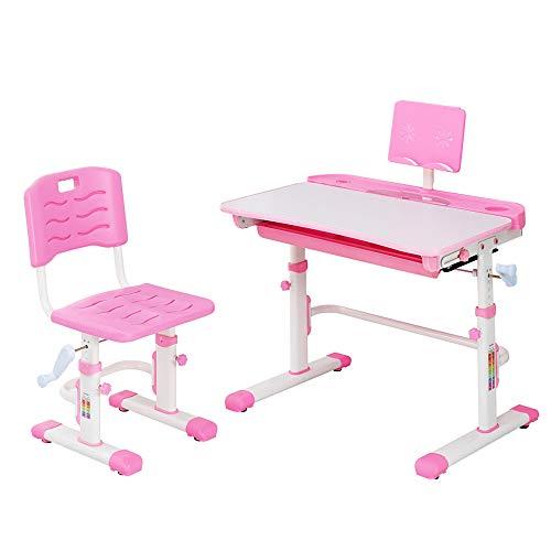 Style home Kinderschreibtisch, Schülerschreibtisch mit Stuhl, höhenverstellbar Schreibtisch Set für Kinder, neigbar Schreibtisch mit Schublade (Rosa)