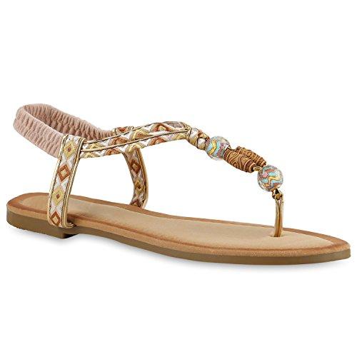 Damen Zehentrenner Metallic Sandalen Leder-Optik Flats Dianetten Ethno Party Abiball Schuhe 136830 Creme Verzierung 37 Flandell