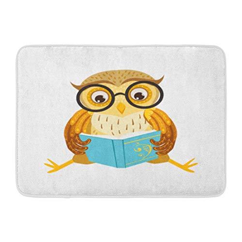 Felpudos Alfombras de baño Alfombra de puerta para exteriores / interiores Búho leyendo el libro Lindo personaje de dibujos animados Emoji Pájaro del bosque mostrando emociones y comportamientos human