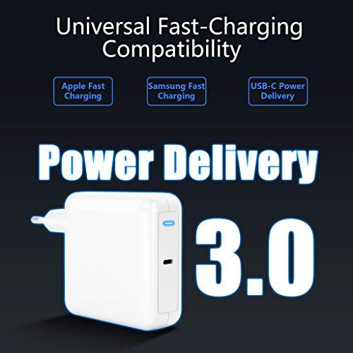 USB C Ladegerät Rytaki PD 87W Netzteiladapter kompatibel mit iPhone 11 / Pro/Max/XR/XS/X, USB-C-Laptops, MacBook Pro/Air, iPad Pro, Galaxy, Pixel und USB-C-Gerät und mit USB C Kabel 6ft