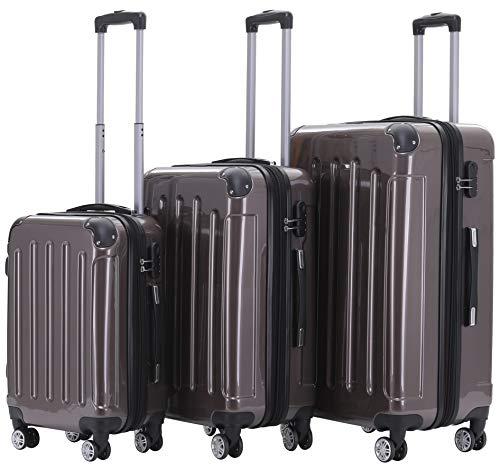 BEIBYE Zwillingsrollen 2048 Hartschale Trolley Koffer Reisekoffer Taschen Gepäck in M-L-XL-Set (Coffee, Set)