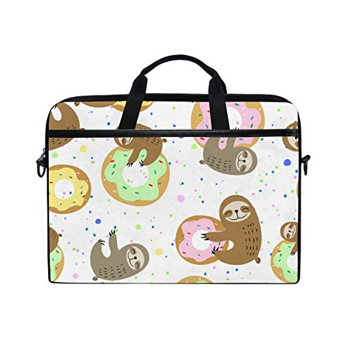 Ahomy 14 Inch Laptop Bag, Cute Sloth Sweet Doughnuts Canvas Fabric Laptop Case Bussiness Handbag With Shoulder Strap for Women and Men