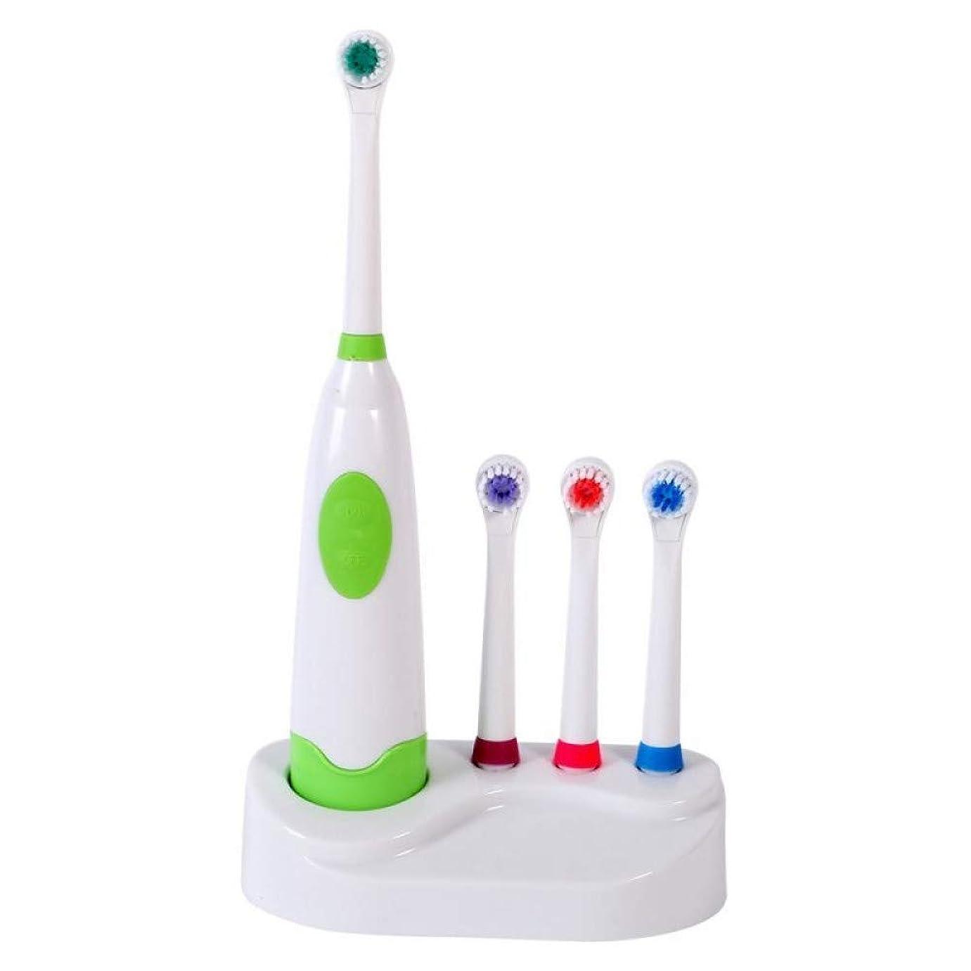 弾性ノズルブラシヘッド付き交換用ソフト電動歯ブラシ交換用歯ホワイトナークリーニング口腔衛生、グリーン