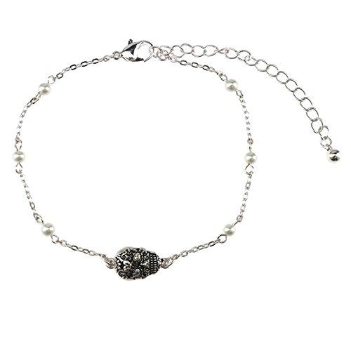 Jucicle Antique Silver Sugar Skull Charm Pearl Link Bracelet Anklet